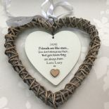 Shabby personalised Chic Special BEST Friend ~ ANY NAME Willow Heart Present BFF - 253984980527
